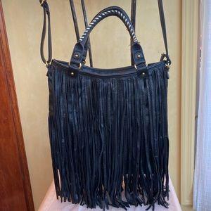 High end Black leather fringe handbag